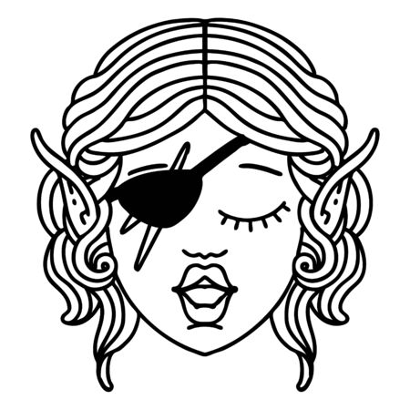Black and White Tattoo linework Style elf rogue character face
