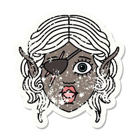 Retro Tattoo Style elf rogue character face Vektorgrafik