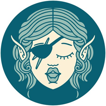 Retro Tattoo Style elf rogue character face Illustration