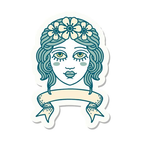 tattoo style sticker with banner of female face with crown of flowers