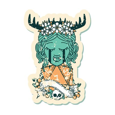 Retro Tattoo Style crying orc druid character face with natural one D20 roll  イラスト・ベクター素材