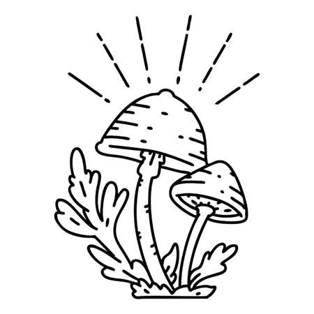 illustration of a traditional black line work tattoo style mushrooms Illusztráció