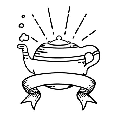 scroll banner with black line work tattoo style steaming teapot