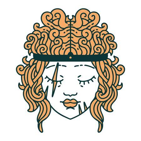 Retro Tattoo Style human barbarian character