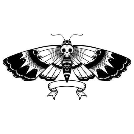 traditional black linework tattoo with banner of a deaths head moth