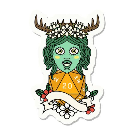 sticker of a half orc druid character with natural 20 dice roll Illustration
