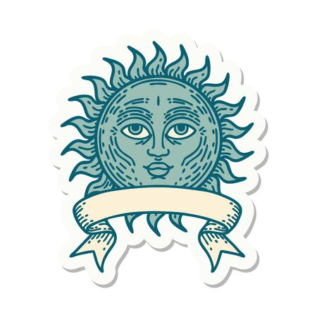 tattoo style sticker with banner of a sun with face
