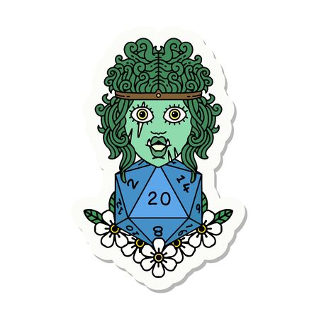 sticker of a orc barbarian with natural twenty dice roll