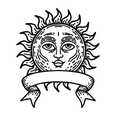 traditional black linework tattoo with banner of a sun with face