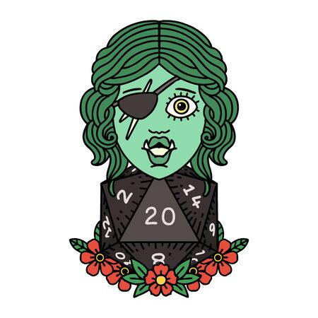 Retro Tattoo Style half orc rogue with natural 20 dice roll