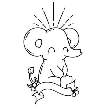 scroll banner with black line work tattoo style cute elephant Иллюстрация