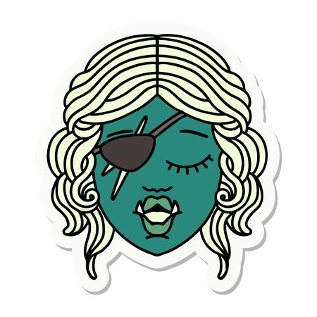 sticker of a orc rogue character face Illustration