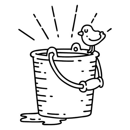 illustration of a traditional black line work tattoo style bird perched on bucket of water