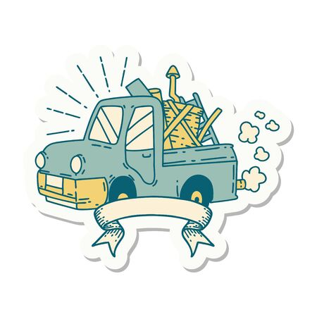 sticker of a tattoo style truck carrying junk
