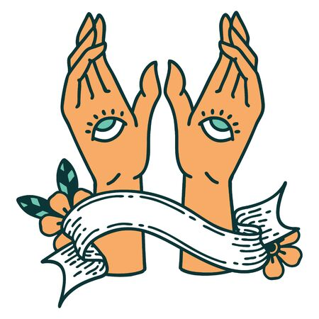 traditional tattoo with banner of mystic hands