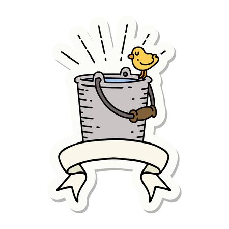sticker of a tattoo style bird perched on bucket of water