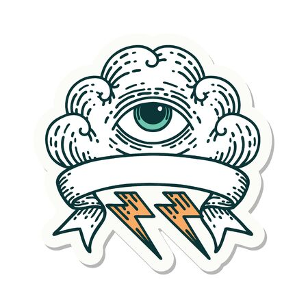 tattoo style sticker with banner of an all seeing eye cloud