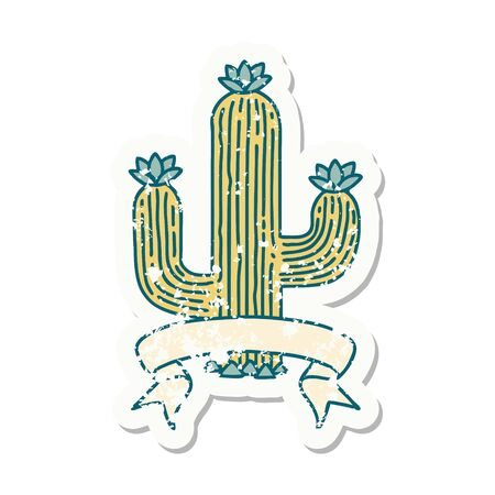 worn old sticker with banner of a cactus  イラスト・ベクター素材