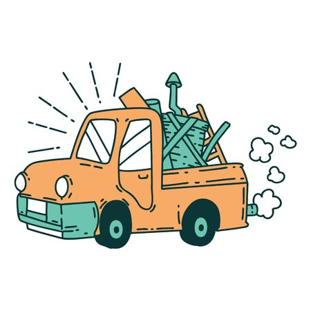 illustration of a traditional tattoo style truck carrying junk