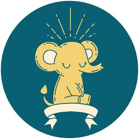 icon of a tattoo style cute elephant Иллюстрация