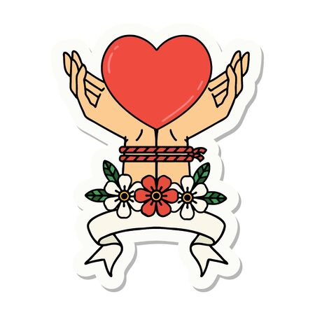 tattoo style sticker with banner of tied hands and a heart
