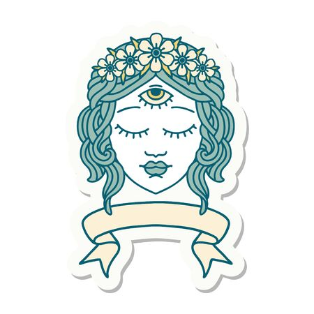 tattoo style sticker with banner of female face with third eye and crown of flowers
