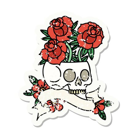 worn old sticker with banner of a skull and roses