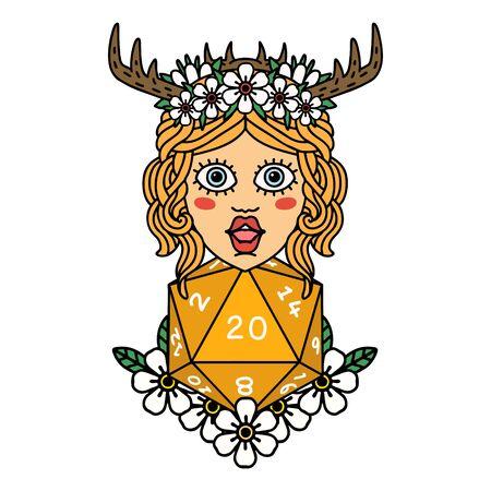 Retro Tattoo Style human druid with natural twenty dice roll  イラスト・ベクター素材