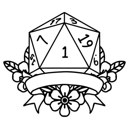 Black and White Tattoo linework Style natural one d20 dice roll Illustration