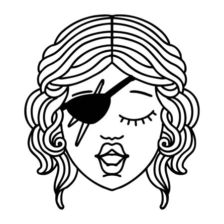 Black and White Tattoo linework Style human rogue character Vektorgrafik