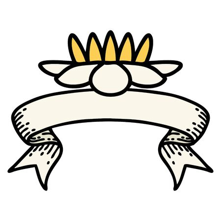 traditional tattoo with banner of a lily pad flower