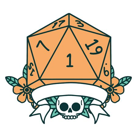 Retro Tattoo Style natural one d20 dice roll