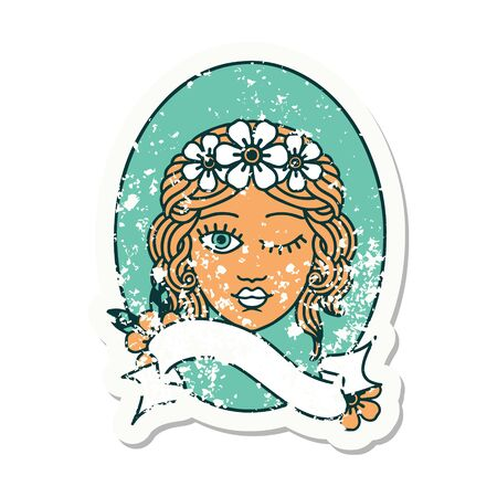 worn old sticker with banner of a maiden with crown of flowers winking Ilustração