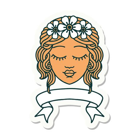tattoo style sticker with banner of female face with eyes closed Ilustração