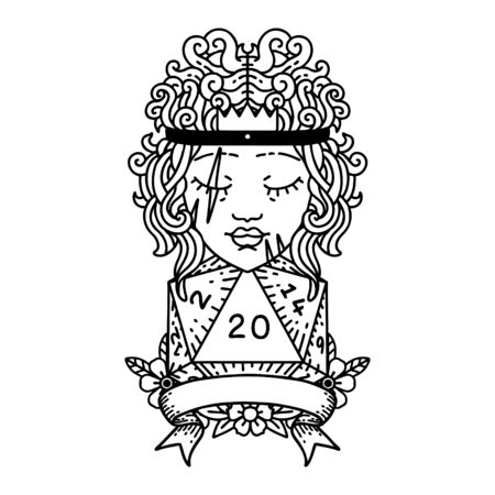 Black and White Tattoo linework Style human barbarian with natural twenty dice roll