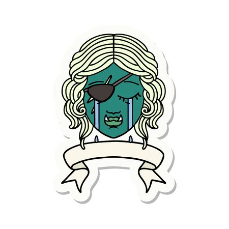 sticker of a crying orc rogue character face