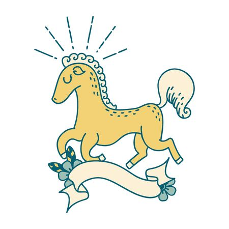 scroll banner with tattoo style prancing stallion