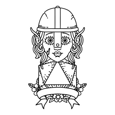 Black and White Tattoo linework Style elf fighter with natural 20 dice roll