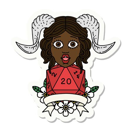 sticker of a tiefling with natural twenty dice roll