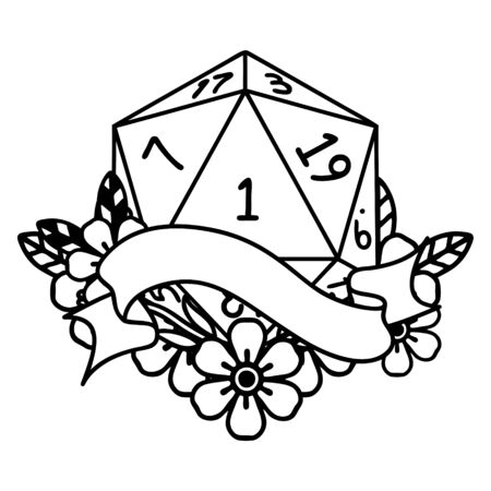Black and White Tattoo linework Style natural one d20 dice roll