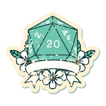 Retro Tattoo Style natural 20 critical hit D20 dice roll 向量圖像