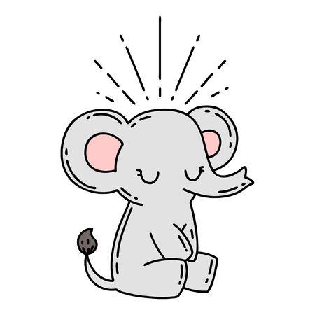 illustration of a traditional tattoo style cute elephant Иллюстрация