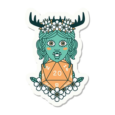 sticker of a half orc druid with natural twenty dice roll