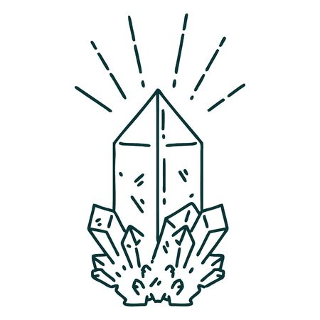 illustration of a traditional tattoo style quartz crystal