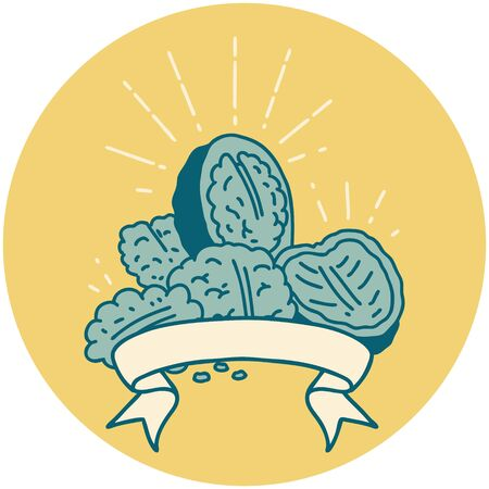 icon of a tattoo style walnuts with shell
