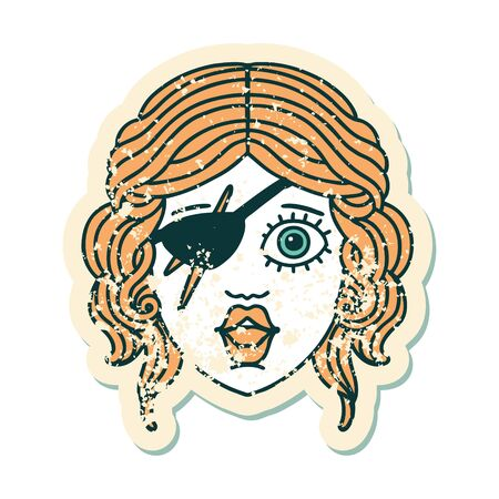 grunge sticker of a human rogue character