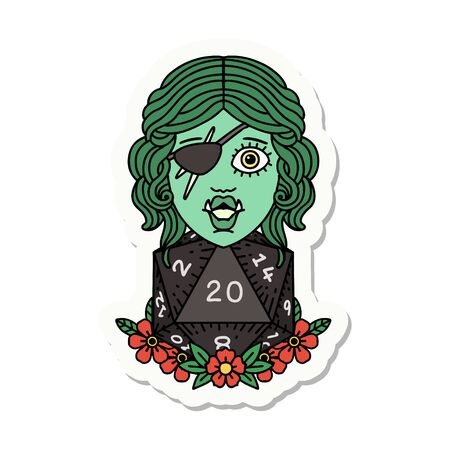 sticker of a half orc rogue with natural 20 dice roll