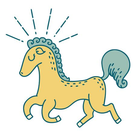 illustration of a traditional tattoo style prancing stallion