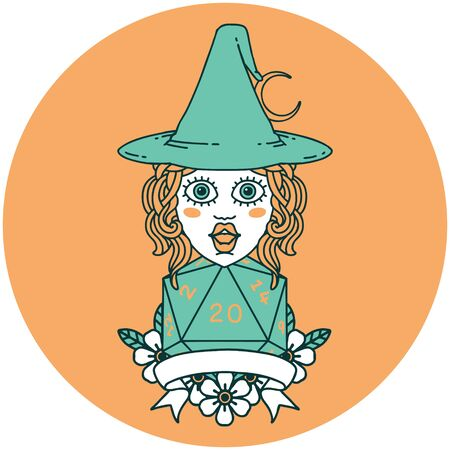 icon of human witch with natural twenty dice roll