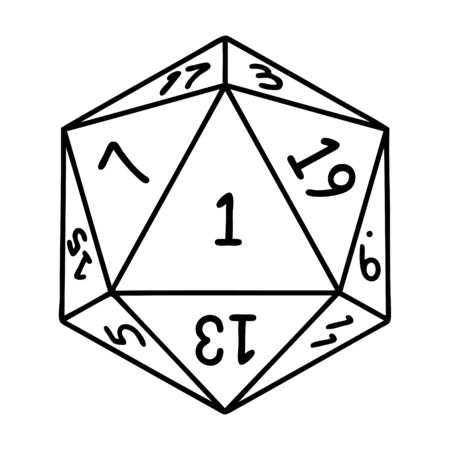 Black and White Tattoo linework Style natural 1 D20 dice roll